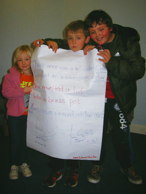 Some of the children who created and performed story poems at the Tang Hall Big Local Festive Make & Take day.