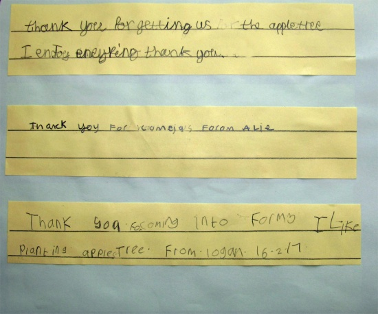 Thank you letters from the pupils of Applefields School