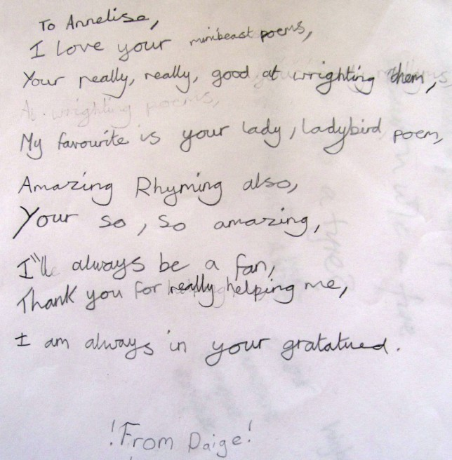 A letter from one of the participants in the 'Poetry Festival in a Day' I took part in