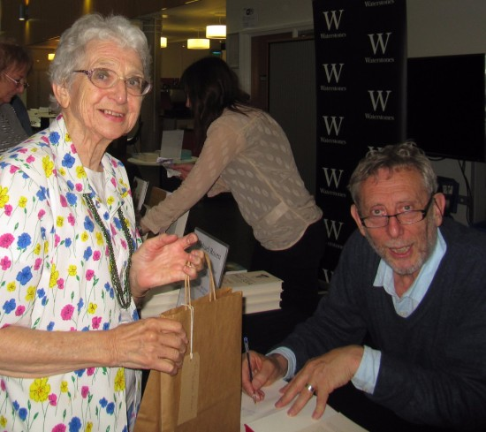 Michael Rosen with his former French teacher, my Mum.