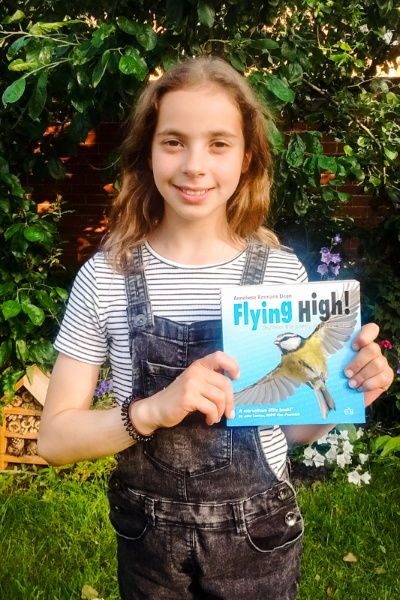 Sonya with her copy of Flying High! in York