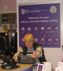 Library volunteer Diana following Finders Keepers on the radio