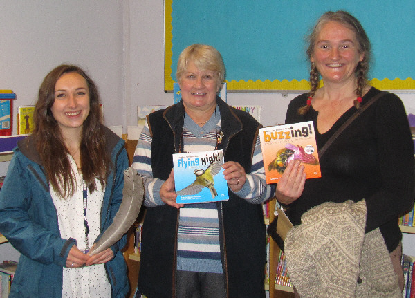 BBC Radio York Finders Keepers reporter Abigail with Easingwold Community Library volunteer Diana, and Jess, who saved the day!