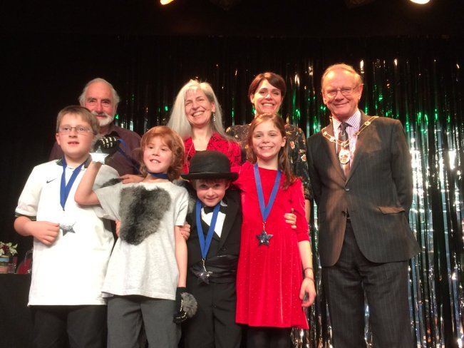 P-Factor 2018 Runners-Up: Terrington Primary, along with the Mayor of Malton, Wes Magee, Audrie Woodhouse and me